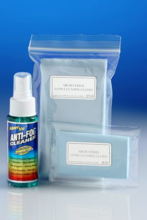 KleerVu Anti Fog Cleaning Kit with 2 microfiber cleaning cloths and 2 oz spray bottle