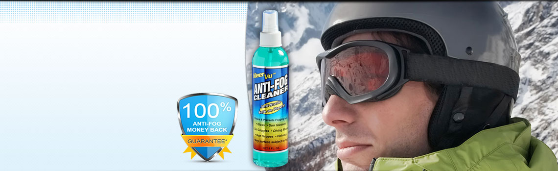 KleerVu Anti Fog Cleaner with ski goggles