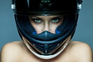 Woman Wearing Motorcycle Helmet