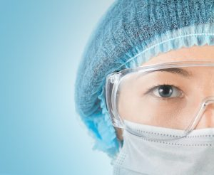 Close-up Portrait Of Serious Doctor working ebola virus in Africa